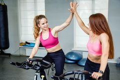 Two female friends wearing sportswear giving high five while cardio workout in gym. Two female friends wearing sportswear giving high five while cardio workout Royalty Free Stock Images