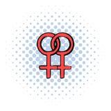 Two female gender symbols icon, comics style Stock Image