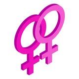 Two female gender symbols isometric 3d icon Stock Photography