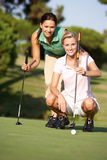 Two Female Golfers On Golf Course