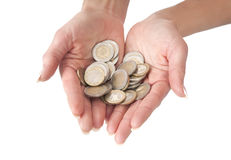 Two female hands full of euro coins Stock Image