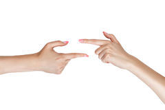 Two female hands indicate. Stock Image