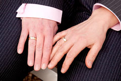 Two female hands with wedding rings Stock Image