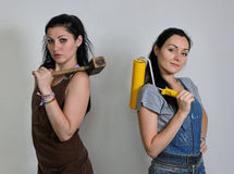 Two female interior decorators Royalty Free Stock Image