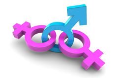 Two Female and Male gender symbol Royalty Free Stock Photos
