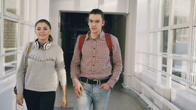 Two female and male students are walking in university hall discussing something. They meet friends standing near window. Two female and male students are stock footage