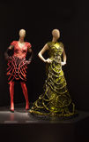 Two female mannequins dressed in beautiful dresses. Two female mannequins at Jean Paul Gaultier exhibition in de Young Museum, San Francisco, August 1 st 2012 Royalty Free Stock Photos
