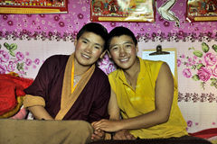 Two female monks smiling Royalty Free Stock Images