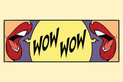 Two female mouth shout wow Royalty Free Stock Images