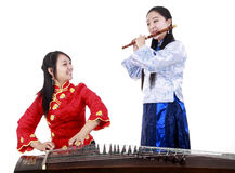 Two female musicians royalty free stock image