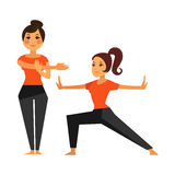 Two female people warming up before karate class. Vector colorful illustration in flat design of women doing sports, physical exercises and leading healthy Stock Photo