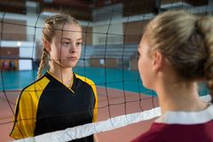 Two female player staring each other Royalty Free Stock Photo