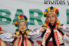 Two female polish folk dancers Stock Photography