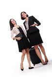Two female professionals walking, full length Royalty Free Stock Photos