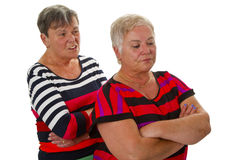 Two female seniors in dispute Stock Photo