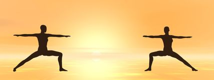 Yoga at sunset - 3D render Stock Photo