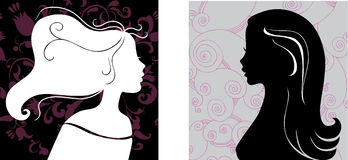 Two female silhouettes Royalty Free Stock Image