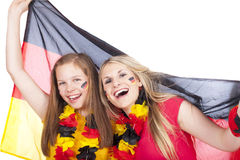 Two female soccer fans Royalty Free Stock Images