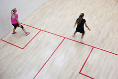 Two female squash players Royalty Free Stock Photo