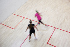 Two female squash players Stock Image