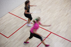 Two female squash players Stock Photos