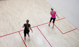 Two female squash players Royalty Free Stock Image