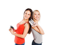 Two female students with photocamera. Students Stock Photography