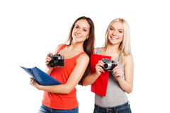 Two female students with photocamera. Students Royalty Free Stock Photos