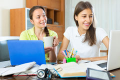 Two female students studying at home Stock Photo