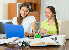 Two female students studying at home Royalty Free Stock Image