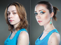 Two female studio portraits before and after Royalty Free Stock Images