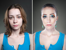 Two female studio portraits before and after Stock Photo