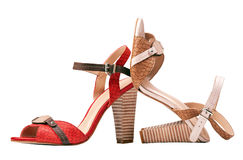 Two female summer shoes over white, with path Royalty Free Stock Photography