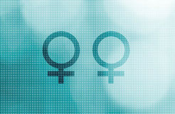 Two female symbols representing gay relationship Stock Photography