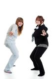 Two female teenagers dancing Stock Photography
