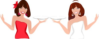 Two female waiters Royalty Free Stock Photos