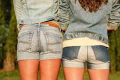 Two females in jeanswear Royalty Free Stock Photography