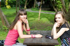 Two females meeting Stock Image