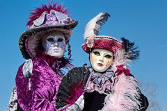 Two females portrait at the carnival in Annecy, Royalty Free Stock Photos