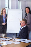 Two females present graph on flipchart Royalty Free Stock Photo