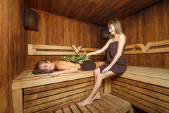 Two females in a sauna. Stock Photo