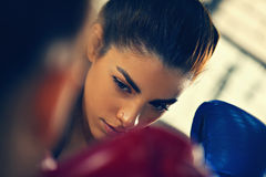 Two Females Sparring. At Gym Royalty Free Stock Image