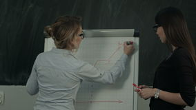 Two females standing and presenting graph on flipchart during business meeting stock footage