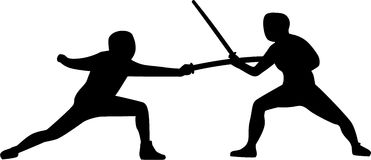 Two Fencers fighting. Silhouette of fencer fighting against each other Stock Photos