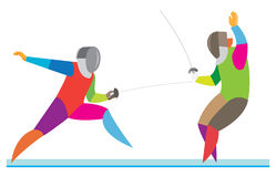 Two fencers participate in an exciting match Royalty Free Stock Photography