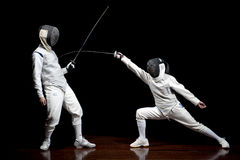 Two fencers sparring Stock Photos