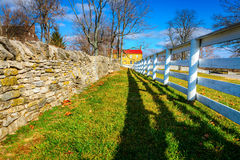 Two fences. Traditional stone and wooden fences in Shaker Village of Pleasant Hill, Kentucky Stock Images