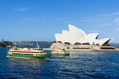 Two ferries in front of Sydney Opera House, Australia Stock Image