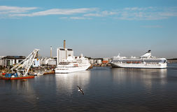 Two ferries in Stockholm harbor, Sweden Royalty Free Stock Images