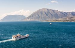Two ferry boats sailing towards eachother Royalty Free Stock Photos